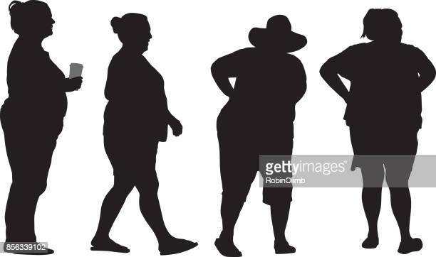 four overweight women silhouettes - heavy stock illustrations, clip art, cartoons, & icons