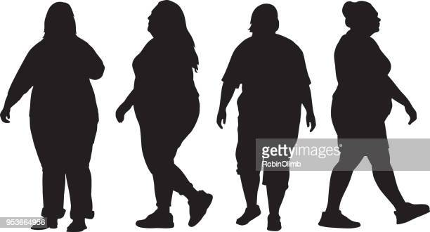 four overweight women silhouettes - mature adult stock illustrations