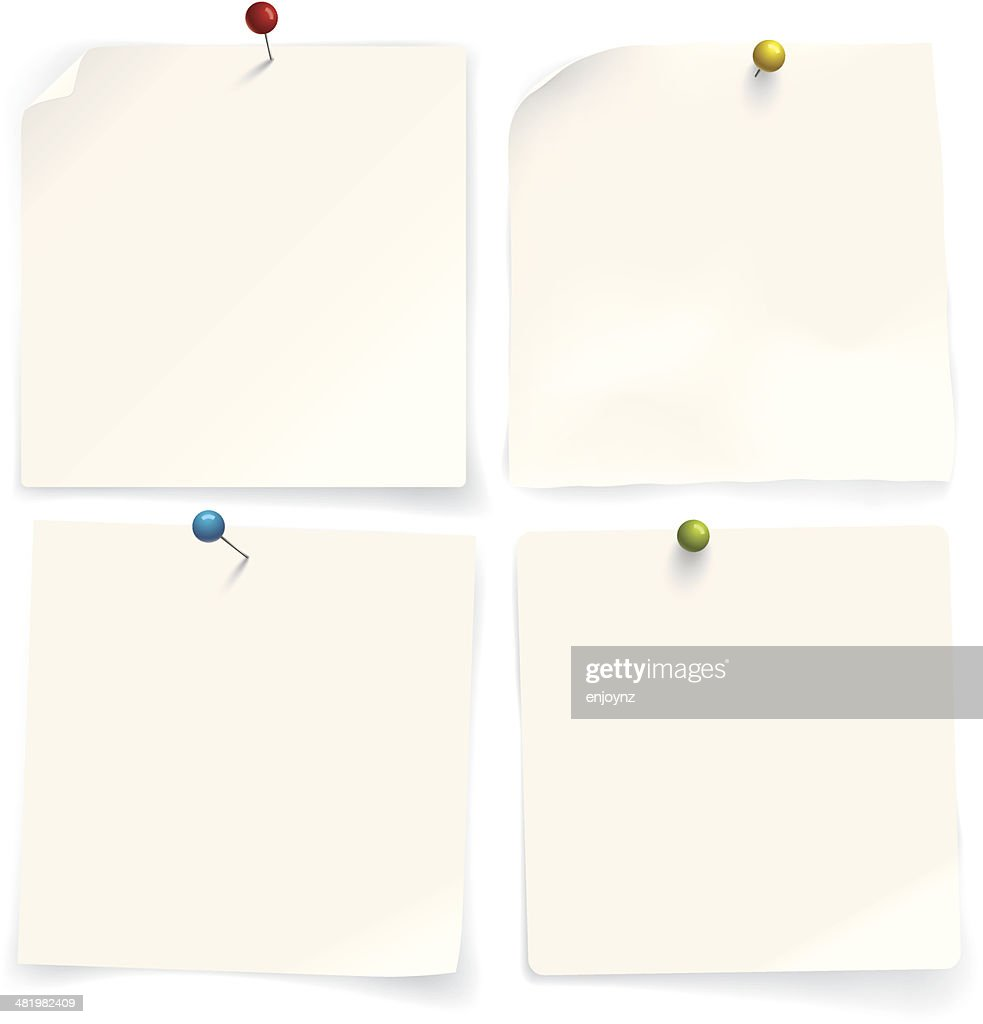 Four paper notes : stock illustration