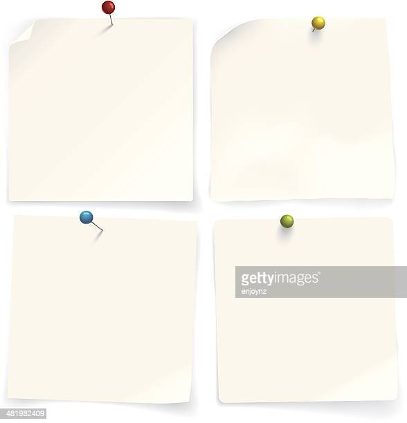 four paper notes - thumbtack stock illustrations, clip art, cartoons, & icons