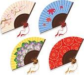 Four patterned fans