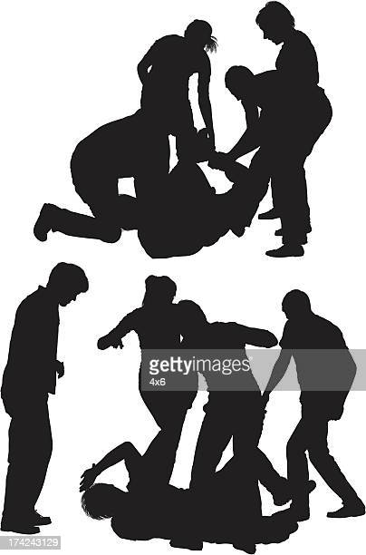 four people beating a man - crime victim stock illustrations