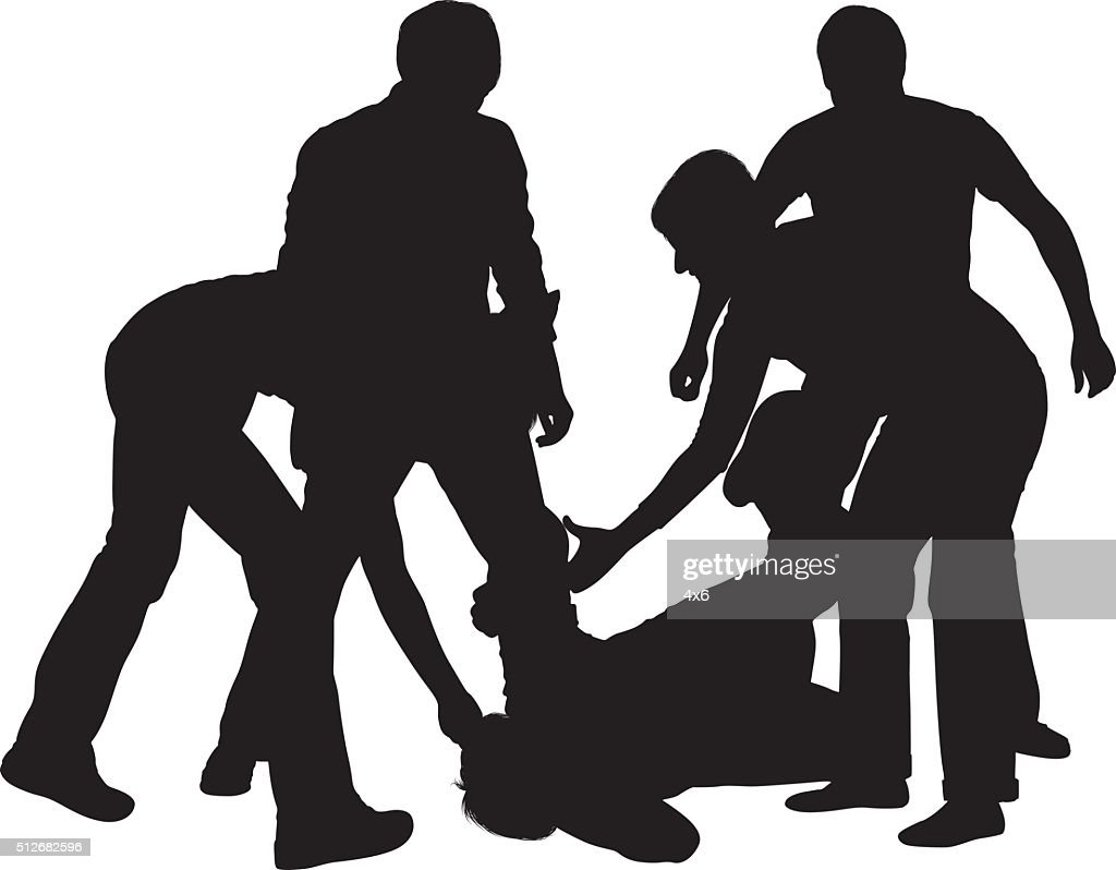 Four people beating up a fifth person