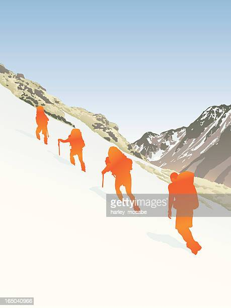 Four people dressed in orange hiking up a snowy mountain