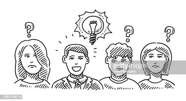 Vier Personen Rivalität Eifersucht Idee Zeichnung