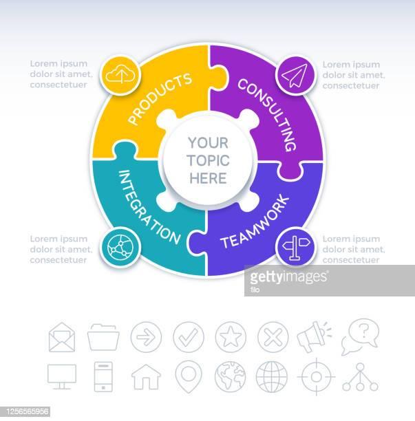 illustrazioni stock, clip art, cartoni animati e icone di tendenza di four piece circle puzzle infographic element - numero 4