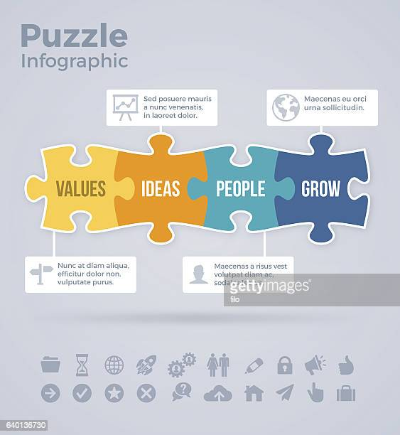 four piece puzzle infographic - four objects stock illustrations