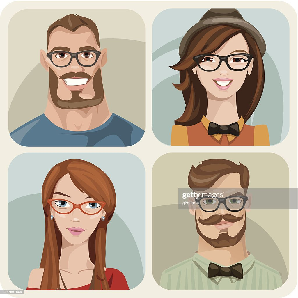 Four portraits of hipsters. Male and female.