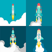Four poster of rocket ship in a flat style. Space