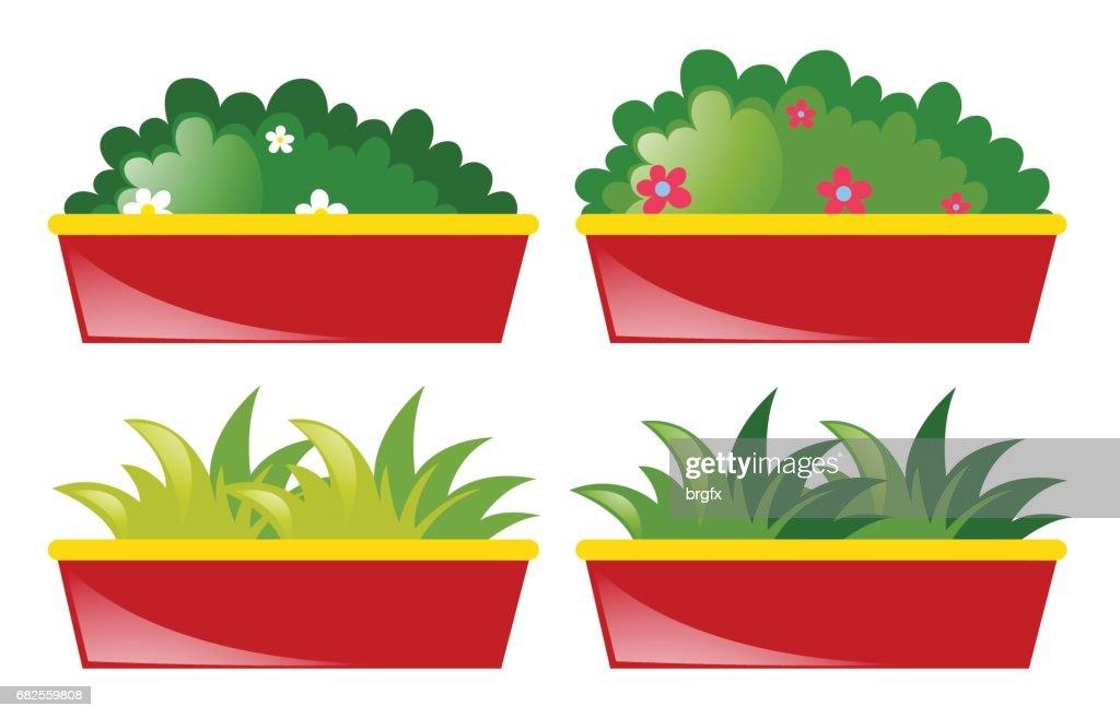 Quatre Pot De Fleurs Et Dherbes Clipart Vectoriel Getty Images