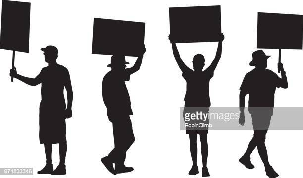 four protesters - holding stock illustrations, clip art, cartoons, & icons
