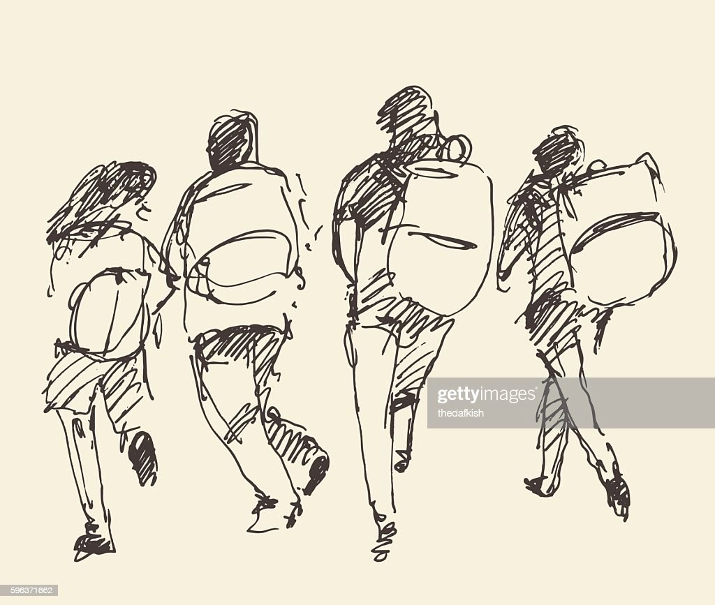 Four pupils go hand. Vector sketch.