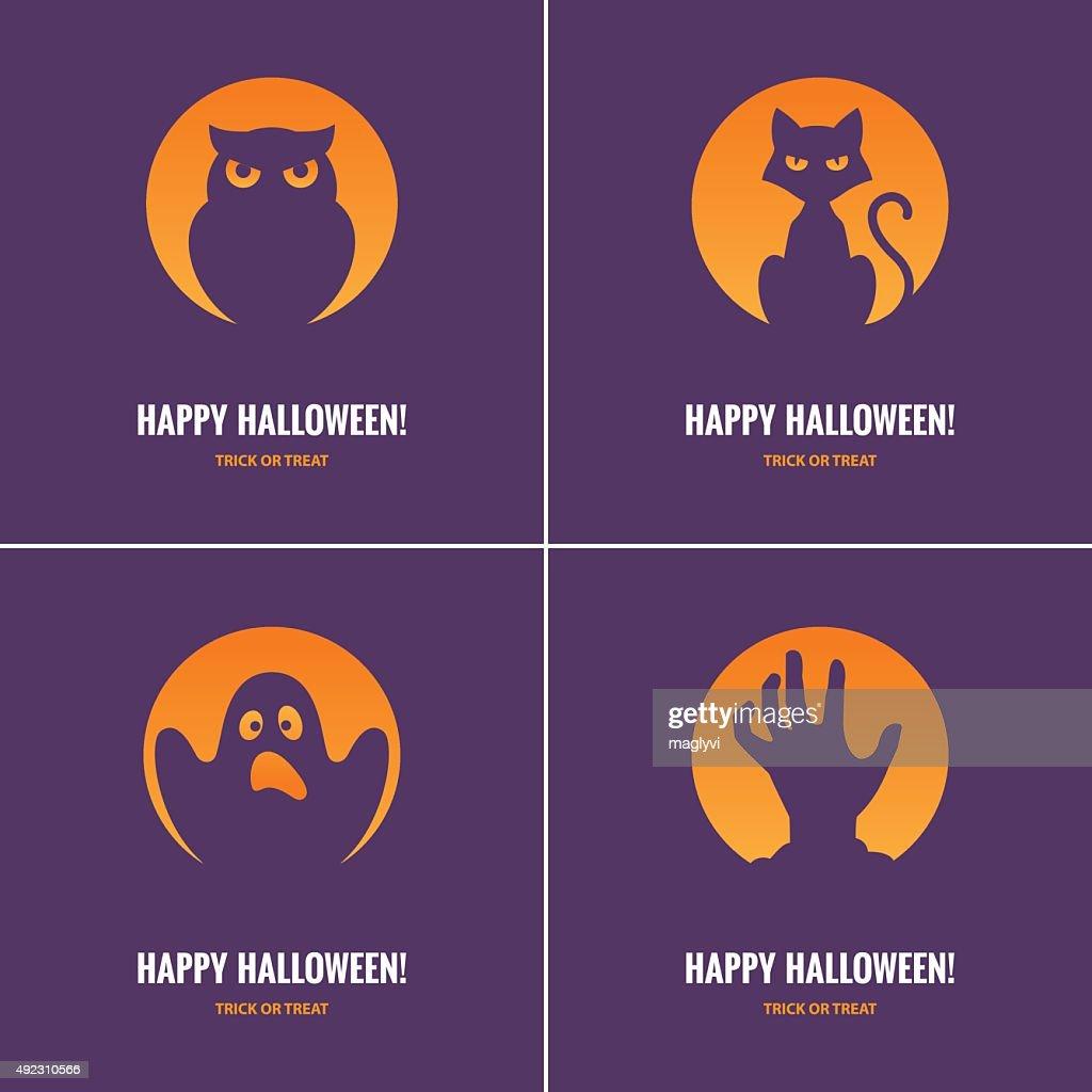 Four purple Halloween cards