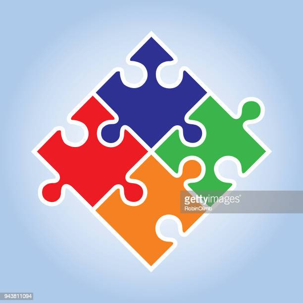 four puzzle pieces icon - jigsaw piece stock illustrations, clip art, cartoons, & icons