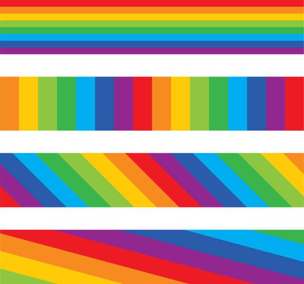 four rainbow striped banners - rainbow stock illustrations
