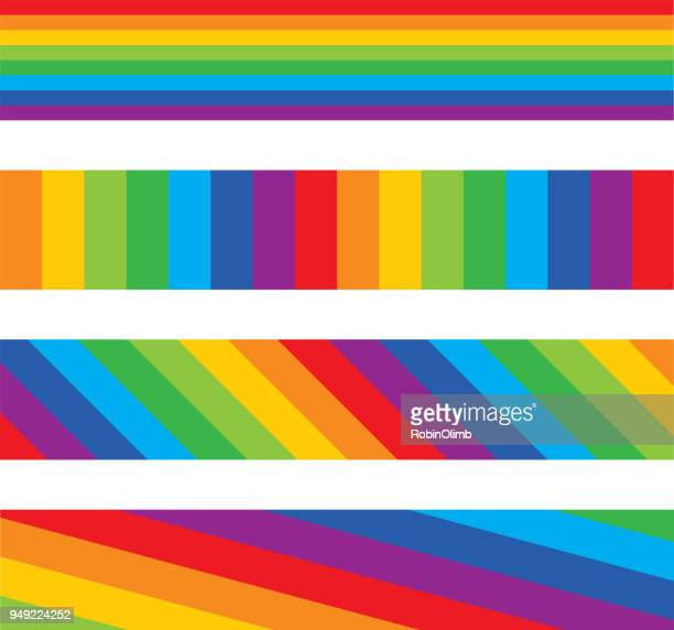 Four Rainbow Striped Banners