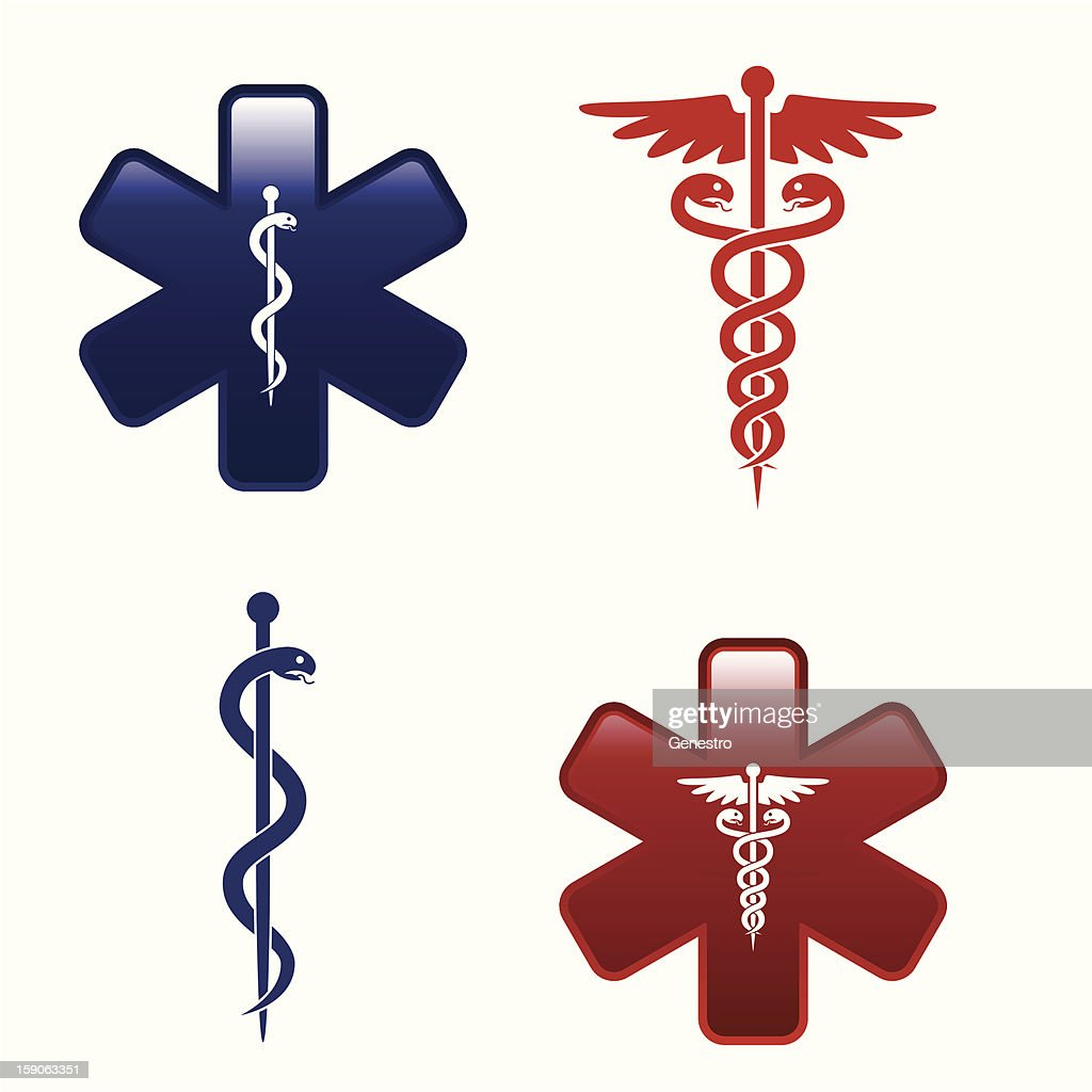 Four Red And Blue Medical Symbols Vector Art Getty Images