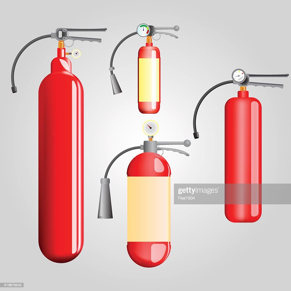 Four red fire extinguisher