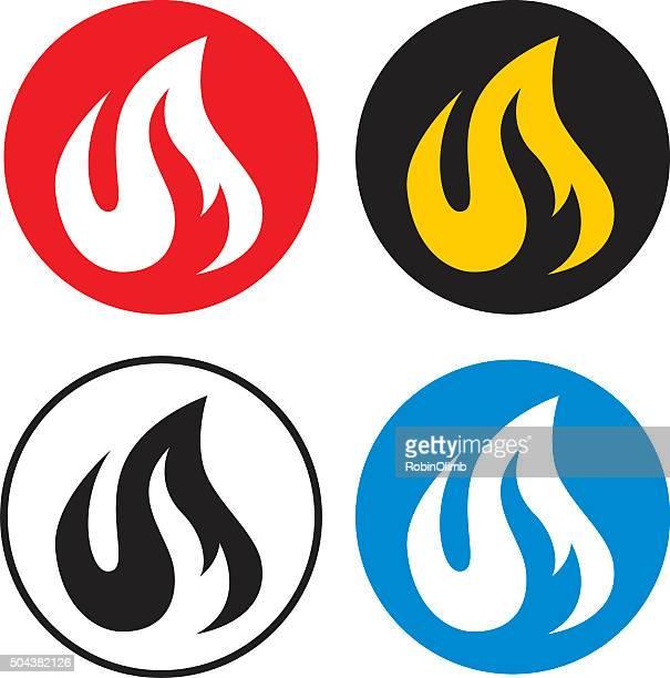 Four Round Flame Icons