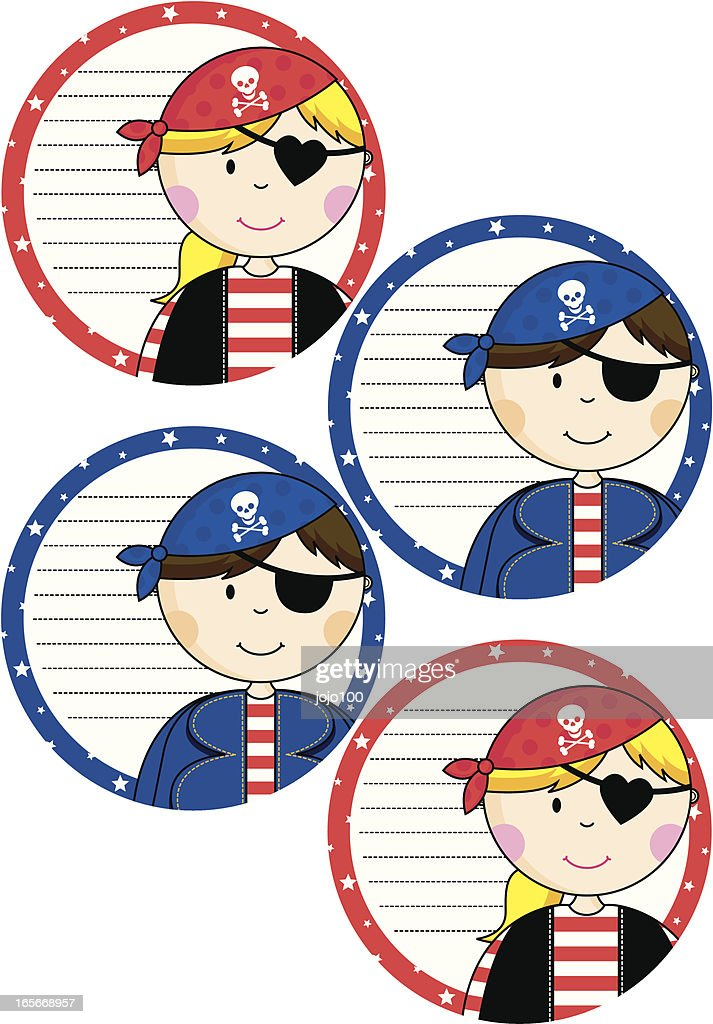 Four round girls boys pirate invites vector art getty images four round girls boys pirate invites vector art stopboris