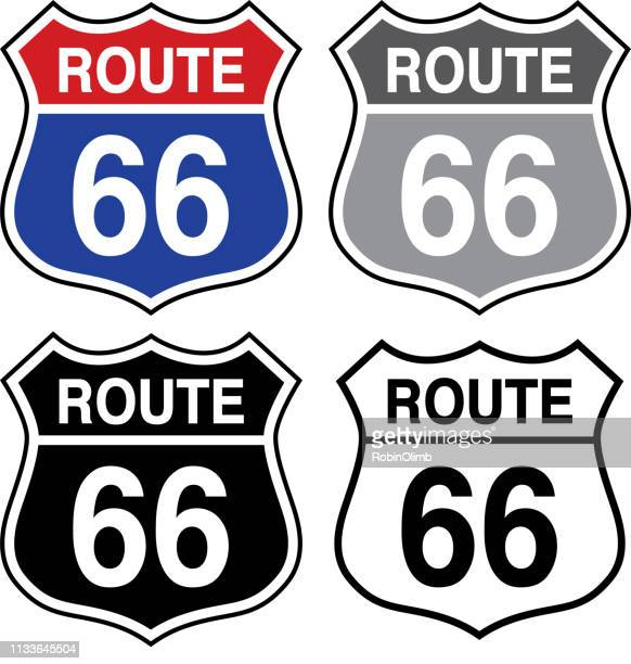 four route 66 signs - road sign stock illustrations, clip art, cartoons, & icons