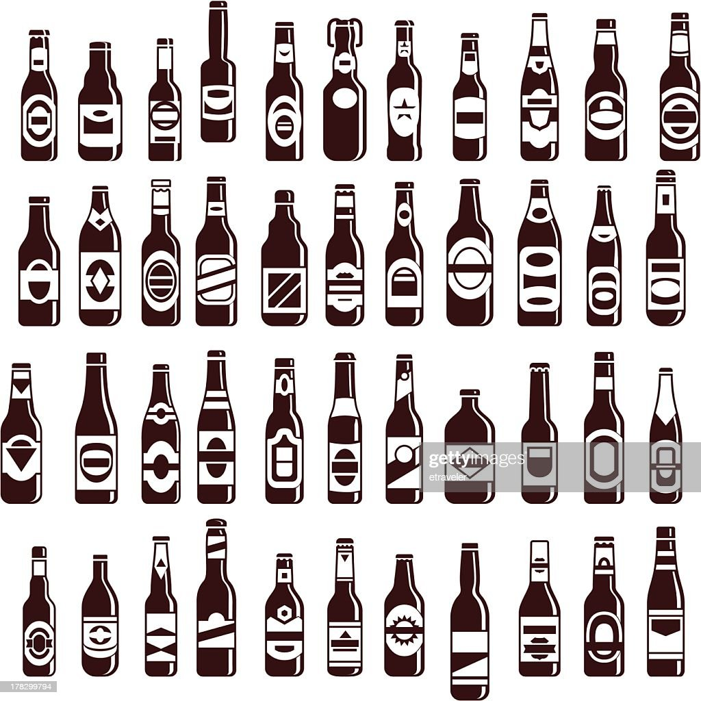 Four rows of beer bottles of various sizes