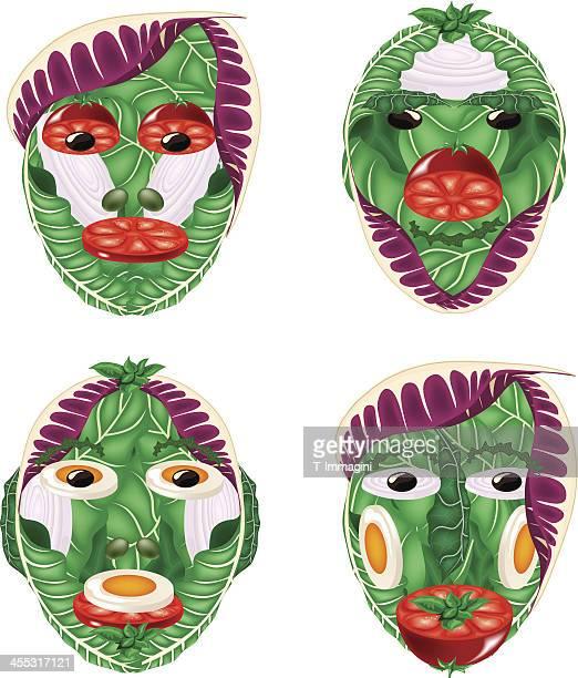 Four salad faces
