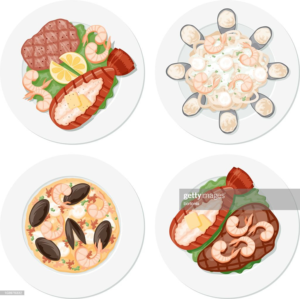 Four Seafood Plates : stock illustration