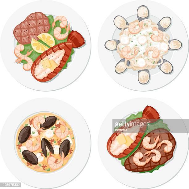 ilustraciones, imágenes clip art, dibujos animados e iconos de stock de cuatro placas de pescados y mariscos - pescadoymariscos