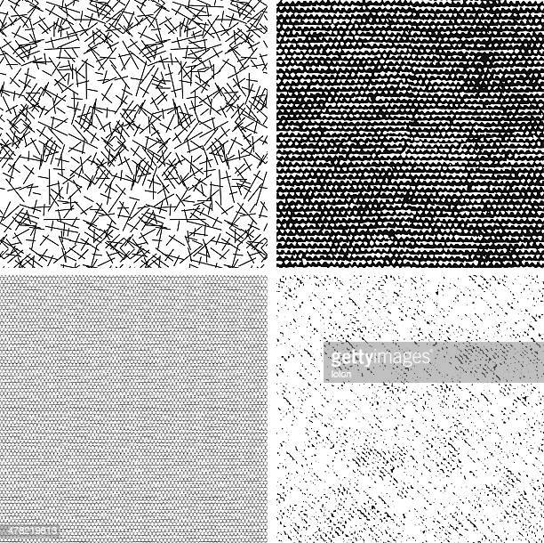 stockillustraties, clipart, cartoons en iconen met four seamless black and white fabric patterns - lolon