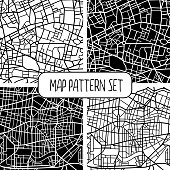 Four seamless city map patterns