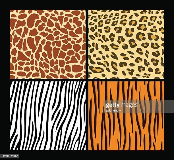 Four seamless exotic animal skin patterns