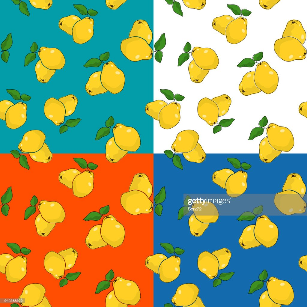 Four Seamless Pattern with Quince