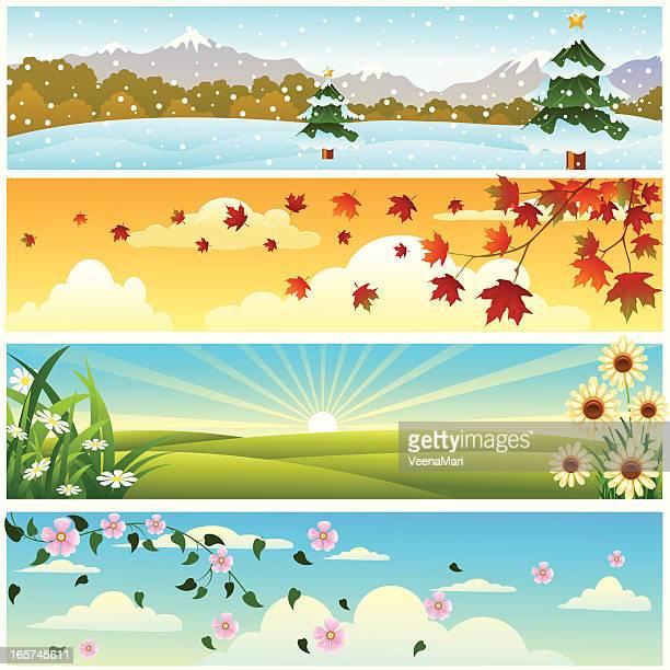 ilustraciones, imágenes clip art, dibujos animados e iconos de stock de las cuatro temporadas del banner - las cuatro estaciones