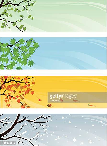 ilustraciones, imágenes clip art, dibujos animados e iconos de stock de cuatro temporada banners - las cuatro estaciones