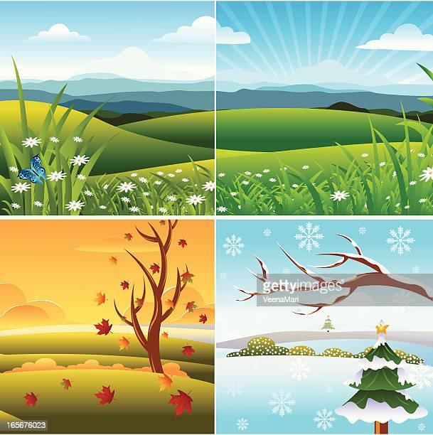 ilustraciones, imágenes clip art, dibujos animados e iconos de stock de paisaje de las cuatro temporadas - las cuatro estaciones