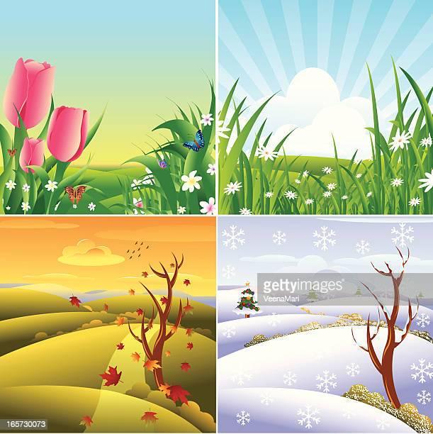 ilustraciones, imágenes clip art, dibujos animados e iconos de stock de las cuatro temporadas del paisaje. - las cuatro estaciones