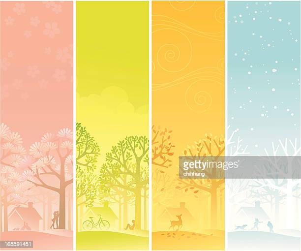 four seasons banner - season stock illustrations