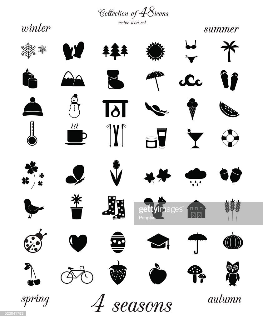 Four seasons. Collection of 48 icons.