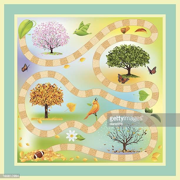 ilustraciones, imágenes clip art, dibujos animados e iconos de stock de four seasons juego - las cuatro estaciones