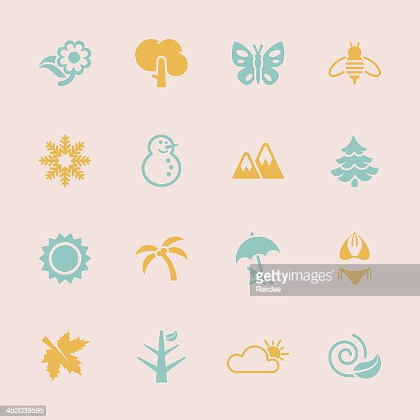 ilustraciones, imágenes clip art, dibujos animados e iconos de stock de four seasons iconos-color serie/eps10 - las cuatro estaciones