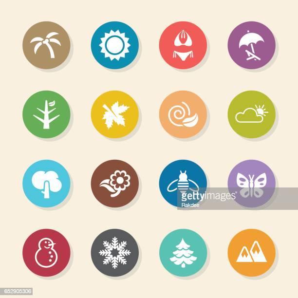 ilustraciones, imágenes clip art, dibujos animados e iconos de stock de four seasons icons set 1-color círculo serie - las cuatro estaciones