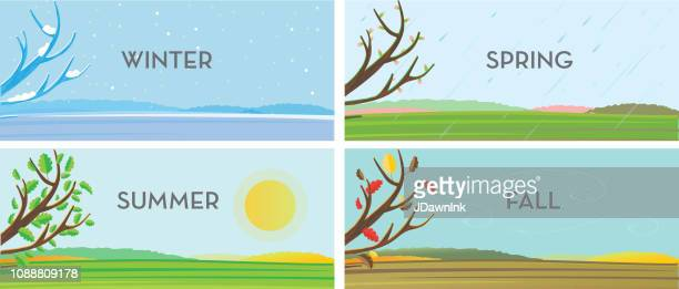 four seasons set of landscape backgrounds - season stock illustrations