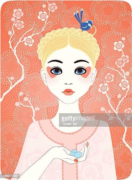 illustrations, cliparts, dessins animés et icônes de quatre saisons-printemps fille - cerisier japonais