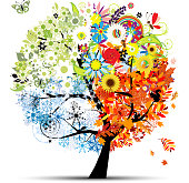 Four seasons - spring, summer, autumn, winter. Art tree beautiful