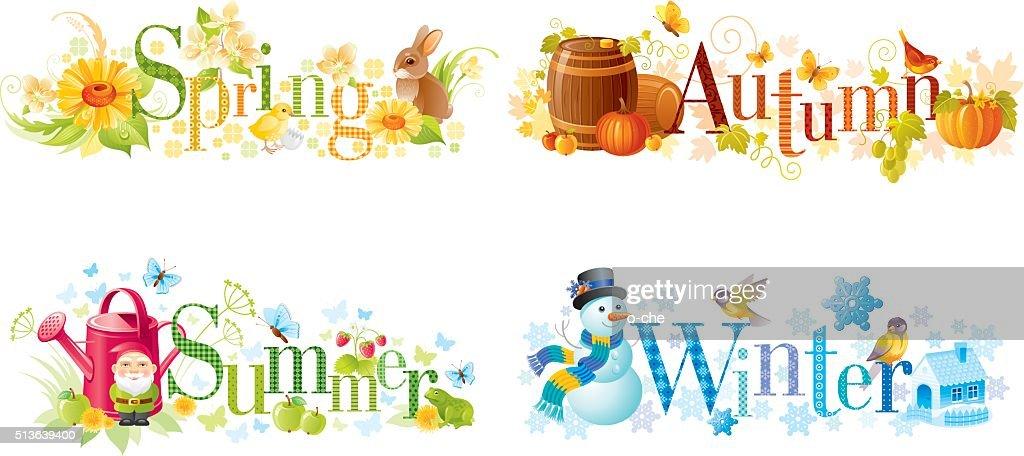 Four seasons: Spring, Summer, Autumn, Winter text banners
