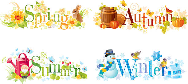 Four Seasons: Spring, Summer, Autumn, Winter Text Banners Wall Art