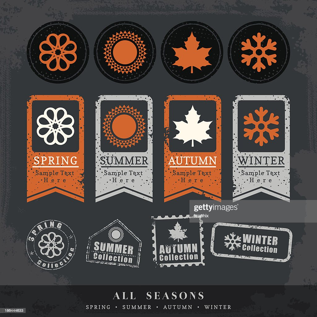 four seasons symbol vector illustration for postage stamp label tag