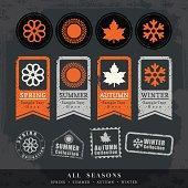 four seasons symbol vector illustration for postage stamp label tag