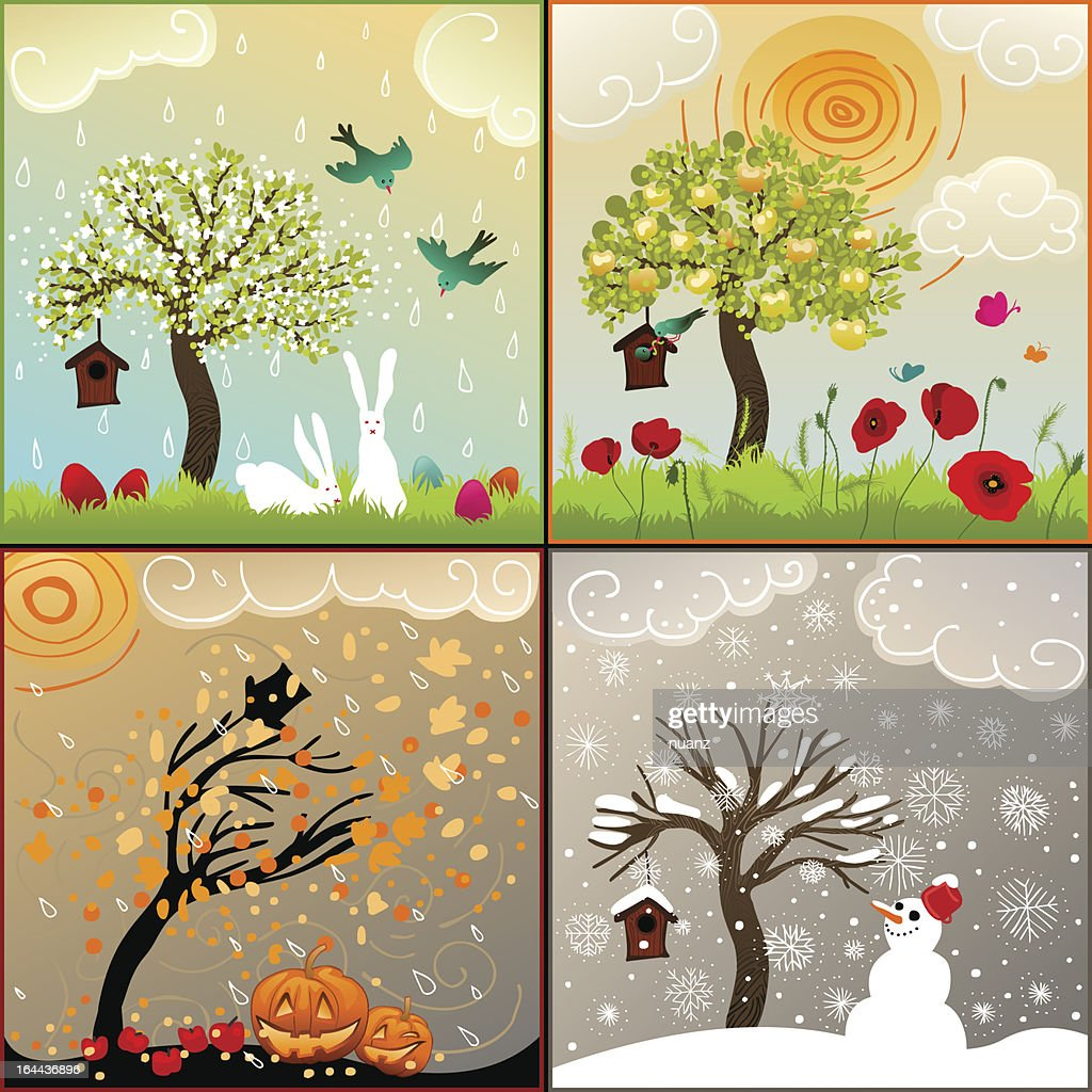 four seasons themed illustrations set with tree, birdhouse and surroundings